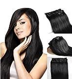 Clip-In-Extensions für komplette Haarverlängerung - hochwertiges Remy-Echthaar - 60 cm - schwarz(#1)