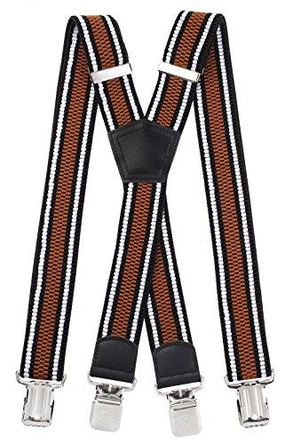 Miobo - bretelle a x, unisex, super resistenti, 4 clip inclusi, larghezza 4 cm x gestreift braun taglia unica