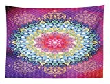 Abakuhaus Mandala Wandteppich Bunte asiatische Motiveaus Weiches Mikrofaser Stoff 150 x 110 cm Klare Farben ohne verblassen Druck Multicolor