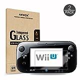 [2 Unidades] Protector de Pantalla para Nintendo Wii U Akwox [9H Dureza] Cristal Vidrio Templado para Nintendo Wii U Cristal Templado