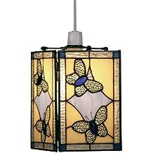 Oaks Lighting - Pantalla para lámpara de techo diseño de mariposas (cristal, 15 x 35cm), color amarillo