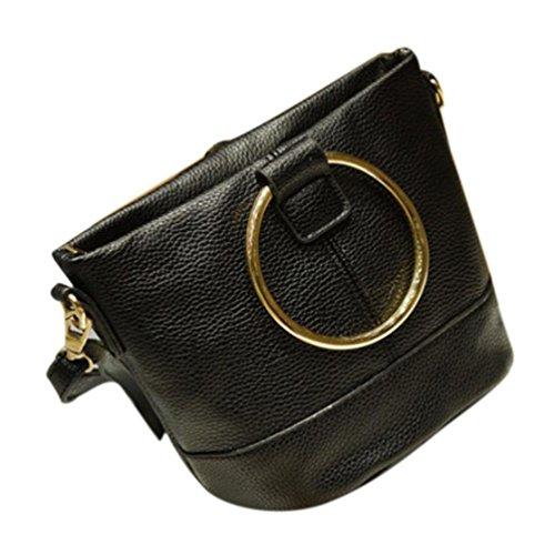 BZLine® Frauen Handtasche Brötchen Tasche Bucket Bag Messenger Umhängetasche Schwarz