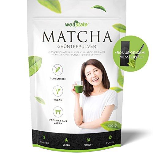 Premium Matcha Grüner Tee Pulver aus Japan – 100g – BONUS Origami Messlöffel – Perfekt für Drinks und Speisen – KOSTENLOSES Rezeptbuch inklusiv 100 Grüner Matcha-tee-pulver