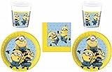 52-teiliges Party-Set Minions - Lovely Minions - Teller Becher Servietten für 16 Kinder