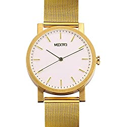 MEDOTA Stainless Steel Waterproof Watch Minimalist Umbra Series Swiss Watch Quartz Mens Watch - No. 21204 (Gold)