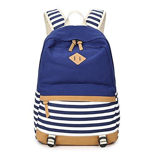 Vintage Schulranzen Rucksack Streifen Canvas Rucksäcke Fresion Lässiger Schulrucksack mit 14 zoll Laptopfach für Maedchen Jugendliche Jungen--20 Liter (Dunkel Blau)