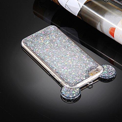BING Für iPhone 6 / 6s, Glitter Powder Mouse Ohr Soft TPU Schutzhülle mit Sling Hole BING ( Color : Pink ) Silver