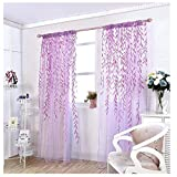ICYANG Unilateral Willow Tüll Zimmer Fenster Vorhang Drapieren Panel Sheer Volants, 78,6 x 39,3 Zoll,Lila