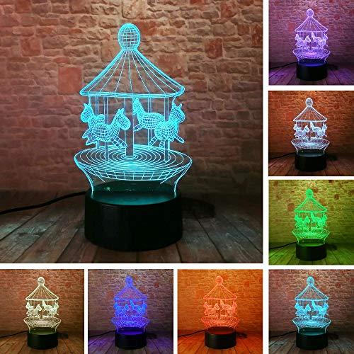 Kreative 3D Illusion Licht LED Nachtlicht Karussell Farbwechsel bunte Atmosphäre Lampe Neuheit Beleuchtung Baby Schlafzimmer Geschenk