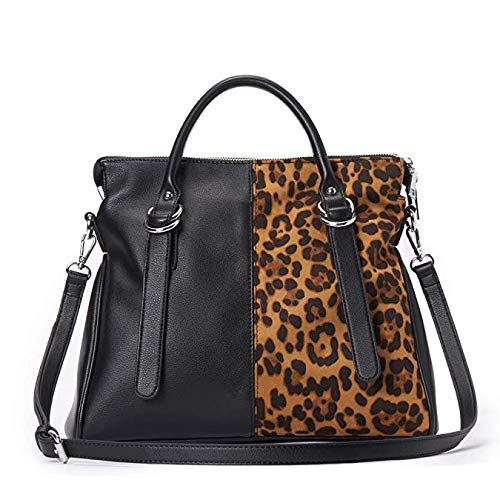 IBFUN Women Handbags Top Handle Bags Leather Purse Ladies Satchels Tote Bags, schwarz/braun (Leoprint) - Handle Satchel Bag
