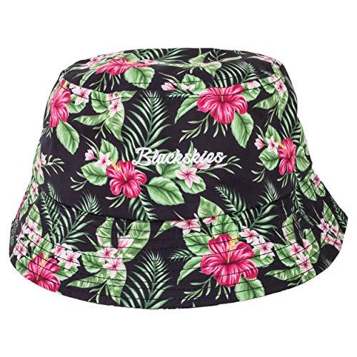 Blackskies Oahu Bucket Hat   Unisex Sonnenhut Fischerhut Anglerhut Herren Damen Grün Blumenmuster