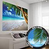 Beach foto wallpaper - spiaggia con palme e mare - XXL Poster 210x140 cm Murale Sand Beach, Paradise Palms Seychelles spiaggia