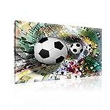 TapetoKids Leinwandbild Abstrakt Fussball Puzzle bunt - L - 80 x 60 cm - Komplettpaket! - fertig gerahmt und inklusive Aufhängung - hochwertige 230g/m² Leinwand auf Keilrahmen - kinderleichte Anbringung
