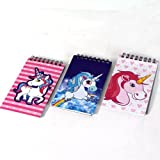 PMS Lot de 3 carnets de notes lignés à Motif de licornes et ressort 7,6 x 12,7 cm