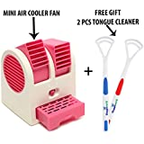 SHOPPOWORLD Mini Portable Dual Blower Desk Table Air Cooler Fan with Free Gift (2 PCS Tongue Cleaner)