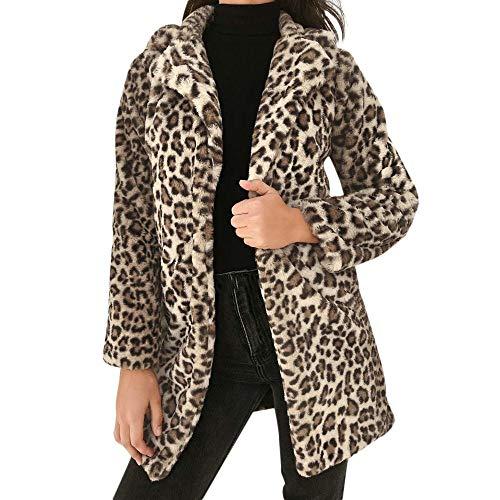 FELZ Abrigos de Invierno para Mujer Chaqueta Delgada de Peluche de Solapa con Estampado de Leopardo para Mujer
