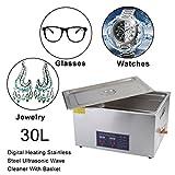 Sweepid Limpiador por ultrasonidos 30L Lavado Dispositivo por ultrasonido Digital Temporizador Acero Inoxidable por ultrasonido Ondas Limpiador para Joyas Reloj Gafas