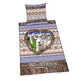 Herding 445992050 Bettwäsche Sündenbock, Kopfkissenbezug: 80 x 80 cm und Bettbezug: 135 x 200 cm, 100 % Baumwolle, Renforce