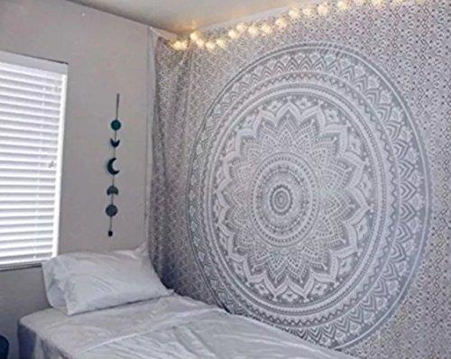 Plateado con purpurina Ombre Mandala tapiz por raajsee, bohemio, tapiz elefante colgante de pared Glorafilia, Hippy Hippie psicodélico tapiz, algodón, Multicolor, 140 x 220 cm