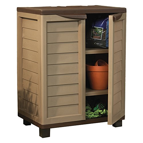 Garden Cabinet Outdoor Waterproof Plastic Utility Storage, Lockable with Adjustable Shelving (Small)