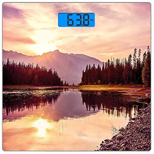 Digitale Präzisionswaage für das Körpergewicht Platz Landschaft Ultra dünne ausgeglichenes Glas-Badezimmerwaage-genaue Gewichts-Maße,Grand Teton Mountain Range bei Sonnenuntergang Jackson Lake Calm Na -