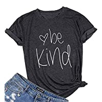 Be Happy Be Kind Funny Graphic T-Shirt Women Casual Letter Print Tee Tops Blouse Size XL (Gray)