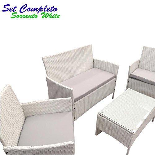 Komplettset Sofa Sorrento White Smart weiß aus Poly Rattan Gartenmöbel Bar Pool für Außen, Tisch + 2Sessel Relax + Gartenbank 2-Sitzer mit Kissen gepolstert - 2