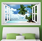 3D Wandmotiv Strand Palme Sand Urlaub Meer Fenster Wandbild Wandsticker Wandtattoo Wohnzimmer Wand Aufkleber 11E396, Wandbild Größe E:ca. 168cmx98cm