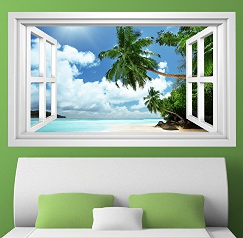 3D Wandmotiv Strand Palme Sand Urlaub Meer Fenster Wandbild Wandsticker Wandtattoo Wohnzimmer Wand Aufkleber 11E396, Wandbild Größe E:98cmx58cm (Fenster Aufkleber Palmen)
