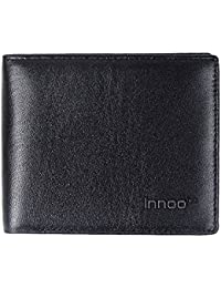 Innoo Tech Cartera Hombre RFID Monedero Hombre Protección de Informaciones privadas Monedero de Tarjeta de Crédito, Dinero y Carnet ID Monedero Cuero Auténtico Color Negro 10,6x9,5x1,5CM