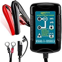 Keenstone 1.5A Chargeur de Batterie 6/12V, Mainteneur de Batterie de Véhicule Moto Vélomoteur VTT VR, 4 Étapes de Charge Intelligent, Batteries 4-36AH de SLA Wet AGM Gel VRLA Lead Acid