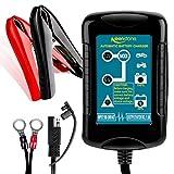 keenstone Batterie Ladegerät 6/12V 1.5A, Smart Batterieladegerät Erhaltungsladegerät 4 Schritt Vollautomatisches Laden für Auto Motorrad KFZ Rasenmäher SLA ATV AGM Gel Cell Blei Akku