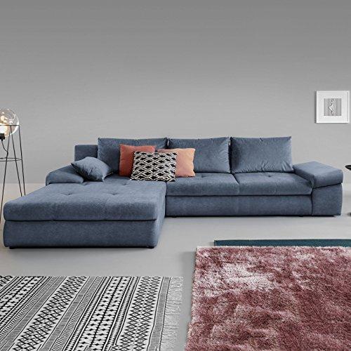 Moebella Ecksofa mit Schlaffunktion und Bettkasten XXL Baldo Designer Schlafcouch Sofa Bettfunktion (Spiegelverkehrt)
