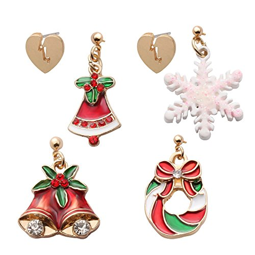 senfai Drei Paar Lovely Christmas Bells Schneeflocke Kristall Ohrstecker Damen Mädchen Fashion Drop Baumeln Ohrringe Urlaub - Schneeflocke Ear Cuff
