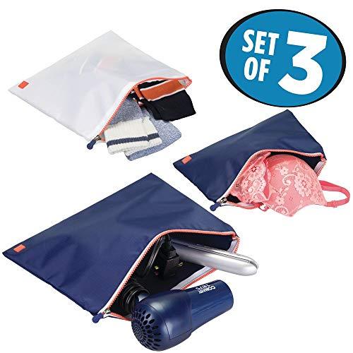 Mdesign set da 3 astucci con cerniera da portare in valigia – porta documenti di diverse dimensioni – astuccio da viaggio o sport per viaggiare sempre comodi – blu navy/bianco/arancione