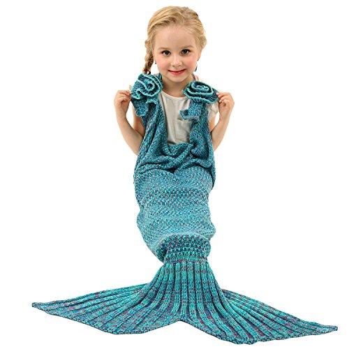 Preisvergleich Produktbild Arshiner Meerjungfrau Baby Mädchen Kinder Kostüm Wassernixe Rock Wolldecke Märchen Bekleidung Warme Kolter Sofa Bett Schlafsäcke Schwanz Grün S