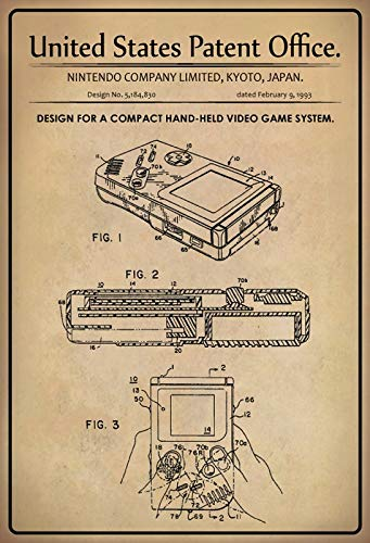 Blechschild 30 x 20 cm U.S. Patent Office. - Design for a Compact Hand Held Video Game System Gameboy (Nintendo Company Limited) 1993 - Deko7 (Boy-system Game)