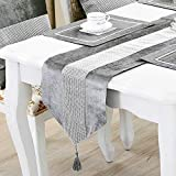 HeMiaor Chemin de Table de Strass 13x72inch couvertures de Table de Strass pailleté, décoration de Table élégante pour Le Mariage de Thanksgiving Noël avec Bande et Glands Diamante, Gris