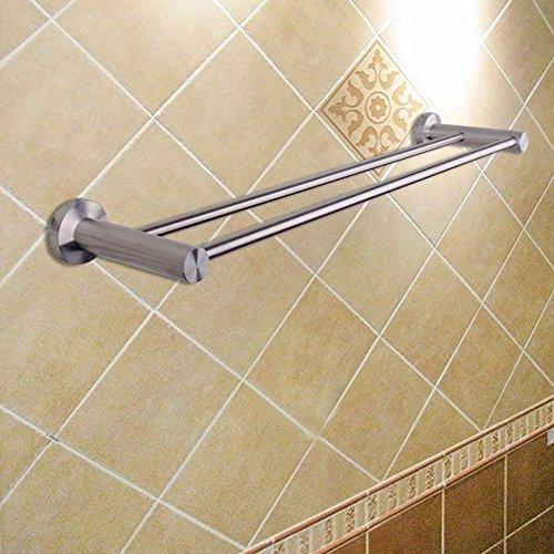 KHSKX Acciaio inossidabile ciondoli in metallo doppio parallelo asciugamano accessori per (Metallo Acciaio Testata)
