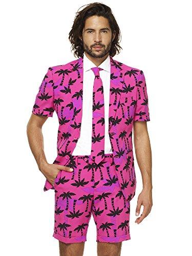 Opposuits Tropicool Anzug für Herren besteht aus Sakko, Hose und Krawatte mit Flamingo Print (Tasche Mann Kostüm)
