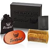 BARTBLUT Bartbürste und Bartkamm Bartpflege-Set für Männer mit 100% Wildschweinborsten - Taschenkamm Holz Kamm Handgefertigt Antistatisch Oval