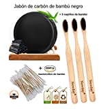 3 Zahnbürsten aus Bambusholz mit Holzkohleborsten + 200 Bambusstäbchen aus Bambus und...