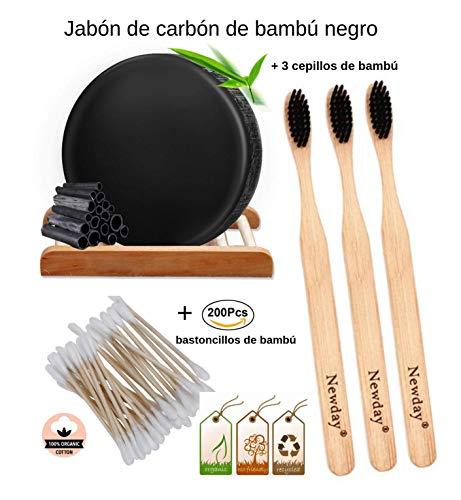 3 Cepillos Dientes Madera Bambú Cerdas