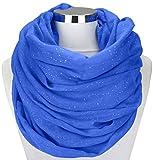 Damen Schal Schlauchschal Loopschal Glitzer Rundschal Tuch Viele Farben (One Size, Royalblau)