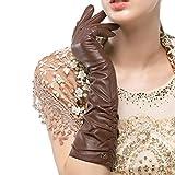 Nappaglo Damen Winter Lange Leder Handschuhe aus echtem Nappaleder Touchscreen Party Fausthandschuhe (M (Umfang der Handfläche:17.8-19.0cm), Braun(Non-Touchscreen))