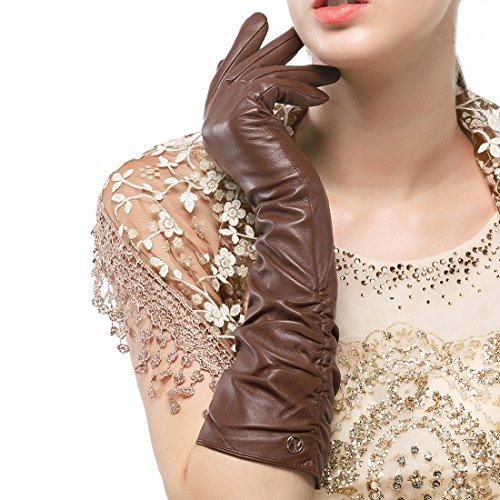 Nappaglo Damen Winter Lange Leder Handschuhe aus echtem Nappaleder Touchscreen Party Fausthandschuhe (XXL (Umfang der Handfläche:21.6-22.8cm), Braun(Non-Touchscreen))
