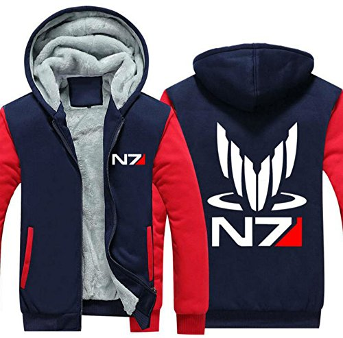 ct Kapuzenpullover Cosplay Kostüm Dick Mantel Herren Jacke Erwachsene Hooded Sweatshirt Kleidung (N7 Mass Effect Kostüm)