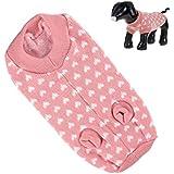 Futaba Lovely White Hearts Pattern Pet/Dog Sweater - Pink - L