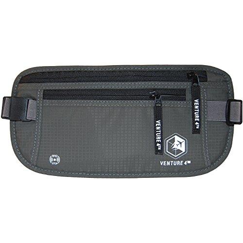 Portafoglio Cintura Portadenaro clandestino Marsupio Pouch Bag Protegge contanti Cards passaporto Biglietti mobile (Grey)