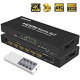 SGEYR HDMI Matrix 4x2 Splitter HDMI Switch 4 input 2 output Interruttore hdmi con SPDIF ottico e uscita audio da 3.5 mm con telecomando a infrarossi Support 4K@30hz 1080P Full 3D